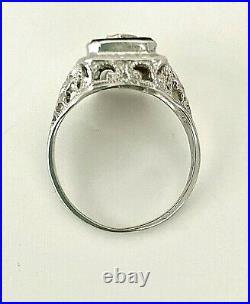 14k White Gold Onyx Ring with Diamond Art Deco Filigree Ornate Antique Sz 5.5 Vtg