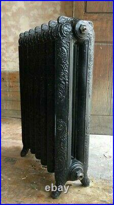 2 Ornate Antique Vintage Cast Iron Princess Radiators