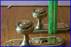 2 Solid Brass Door Knobs with backplates escutcheon key hole Vintage Ornate rope