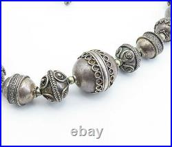 925 Sterling Silver Vintage Antique Ornate Beaded Chain Necklace NE1153