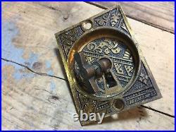 9 Antique Vintage Victorian Eastlake Ornate Pocket Door Pull / Handle w Key