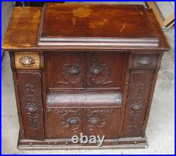 ANTIQUE VINTAGE Singer 127 Treadle Sewing Machine in Ornate Drawing Room Cabinet