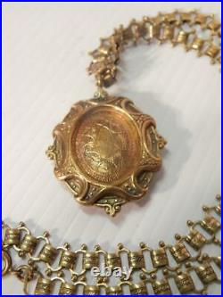 ANTIQUE VINTAGE VICTORIAN GOLD FILLED LARGE LOCKET BOX CHAIN 1890s MINT