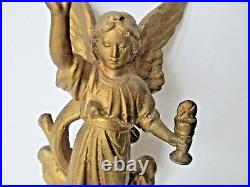 ANTIQUE vintage GOTHIC ANGEL religious HOLY WATER font JESUS CHRIST ornate OLD