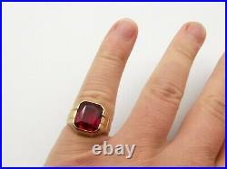 Antique 10K Gold Simulated Ruby Ring Sz 6.75 Estate Vtg Cocktail Ornate Signed