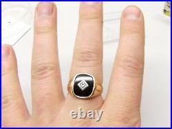 Antique 14K Gold Black Onyx Diamond Ring Sz 10 Art Deco Ornate Mens Signet Vtg