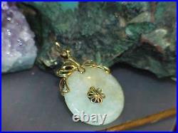 Antique 14k Ornate Jade Jadeite Disc Pendant Yellow Gold Filigree Ornate Vintage