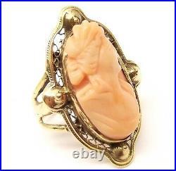 Antique 18K Gold Carved Coral Cameo Ring Sz 4.25 Woman Angel Skin Vtg Ornate