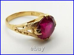 Antique 22K Gold Simulated Ruby Chinese Ring Sz 7 Estate Vtg Cocktail Ornate