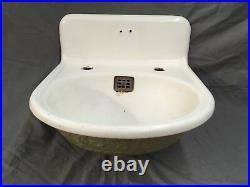 Antique Cast Iron White Porcelain Ornate Bathroom Sink Old Vtg Fixture 598-17E