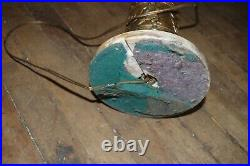 Antique Estate Vintage Pair Ornate Brass Candelabra Lamps Marble Base