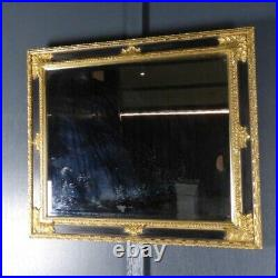Antique Gilded Ebonised Mirror Gold Gilt Ornate Rectangular Vintage Rwi5399