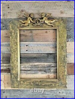 Antique Gold Gilt Cherub Wooden Picture Mirror Frame Ornate Decorative Vintage