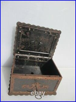 Antique Iron Lockbox Safe Lock Box Chest French Key Victorian Ornate Old Vintage
