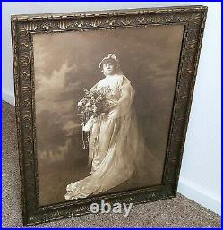 Antique Large 1890's-1910 Ornate Picture Frame Bride Wedding Sepia Vintage Photo