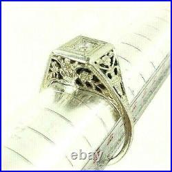 Antique Ornate 1930s White Gold Diamond Art Deco Solitaire Engagement Ring Vtg