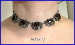 Antique Ornate Art Nouveau Rose Cut Garnet Silver Link Choker Necklace Vtg
