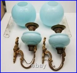 Antique Ornate Metal Wall Sconce Electric Hurricane Blue Glass Globe Vintage