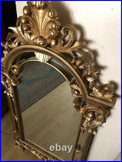 Antique Ornate Mirror Art Decor Frame Vintage Baroque Rococo Carved Dress Wall