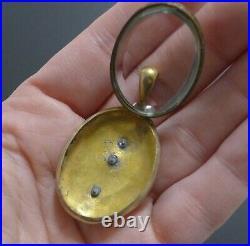 Antique Ornate Victorian 14K Rolled Gold Mourning Photo Locket Pendant Pearl VTG