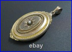 Antique Ornate Victorian Gold Plated Mourning Photo Locket Pendant Pearl Vintage
