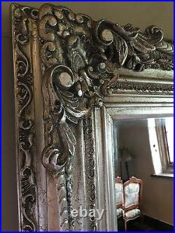 Antique Silver Ornate Large French Vintage Statement Overmantle Wall Mirror 4FT