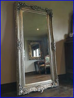Antique Silver Ornate Vintage Large Over mantle French Statement Wall Mirror 5ft