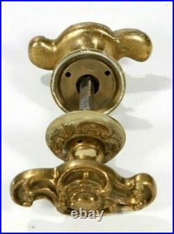 Antique Solid Brass Unique Ornate Door Knob Set With Escutcheons Made In Italy