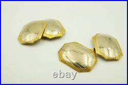 Antique Vintage 10k Yellow And White Gold Ornate Etched Cufflinks