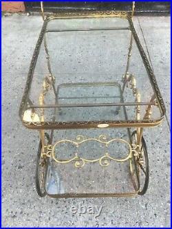 Antique Vintage 1950s Solid Brass Bar Tea Cart Ornate Baroque Trolley