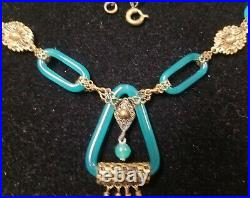 Antique Vintage ART DECO Necklace VERY RARE Green Glass Chain Link Brass Ornate