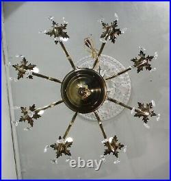 Antique Vintage Bronze Chandelier 8 Light Crystals Ornate French Style