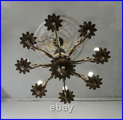 Antique Vintage Bronze Chandelier French Empire 8 Light Ornate Classic