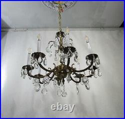 Antique Vintage Bronze Chandelier Ornate Crystals 8 Light Fixture Rewired