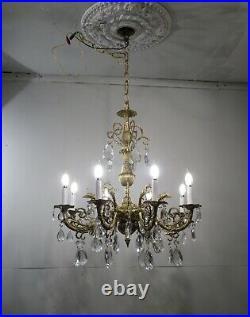 Antique Vintage Bronze Gargoyle 8 Light Chandelier Rare Ornate Crystals Fixture
