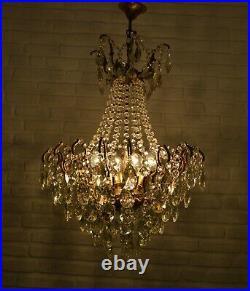 Antique Vintage Cast Brass & Crystals Spider Style Ornate Chandelier Lighting