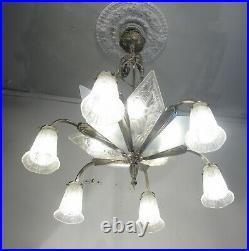 Antique Vintage Chandelier Art Deco French Glass Shades Ornate Grand Silver 12lt