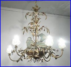 Antique Vintage Chandelier Mermaids Crystals Unique Ornate 6 Lt Fixture Floral