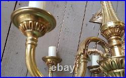 Antique Vintage FRENCH Gilt Gold BRASS 6 Arm Ornate Ceiling Light Chandelier