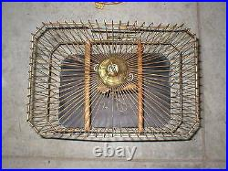 Antique Vintage Hendryx Gold Ornate Bird Cage Asian Style With Stand 65 Tall
