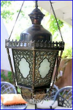 Antique Vintage Large Ornate Brass Bronze Lantern Chandelier 12 lb Hanging Lamp