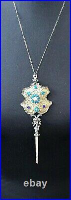 Antique Vintage Nouveau Sterling Silver Austro Hungarian Ornate Pendant Necklace