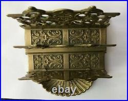 Antique Vintage Ornate Baroque Style Shell Fancy Brass Letter Rack Holder