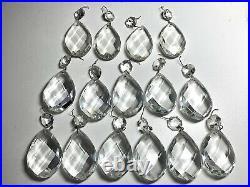 Antique /Vintage Ornate Brass Chandelier 5 Arms 10 Lights WithTeardrop Crystals