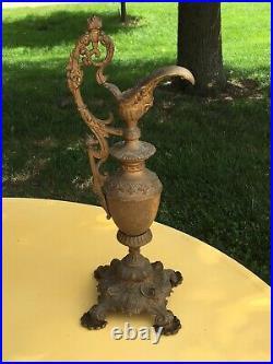 Antique Vintage Ornate Brass Ewer Urn Pitcher Vase