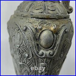 Antique Vintage Ornate Brass Pewter EWER URN Pitcher Vase Amazon Goddess Cherub