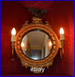 Antique Vintage Ornate Gilt Butlers Mirror with Working Lights