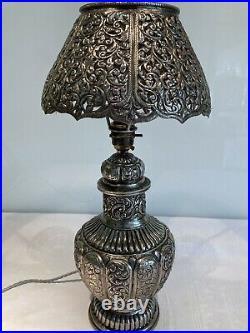 Antique Vintage Ornate Silvered Metal Indian Table Lamp & Shade Refurbished