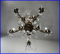 Antique Vintage Spanish Bronze Chandelier 2 Tier 10 Lt. Ornate Unique Crystals