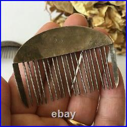 Antique Vintage Two Sterling Silver Ornate Hair Combs